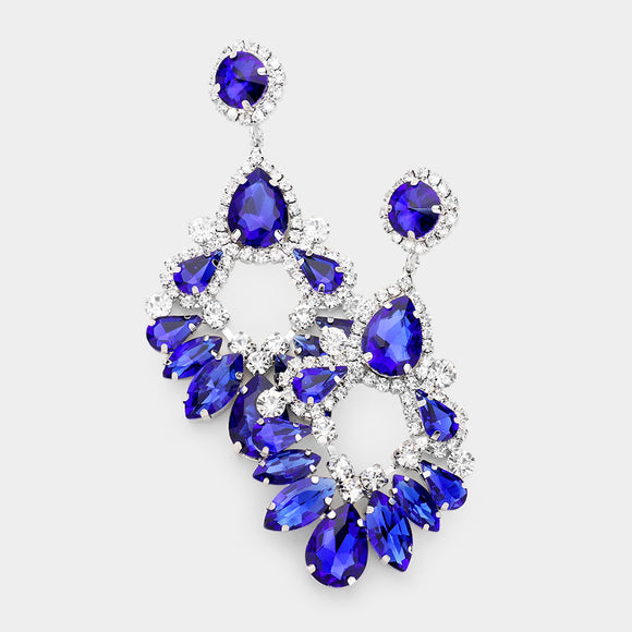 SILVER ROYAL BLUE CLEAR CHANDELIER EARRINGS ( 2133 )