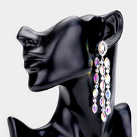 SILVER CHANDELIER EARRINGS WITH AB STONES ( 2336 )