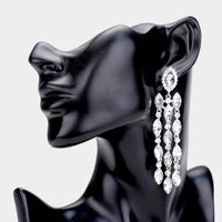 SILVER CHANDELIER EARRINGS WITH CLEAR STONES ( 2336 )
