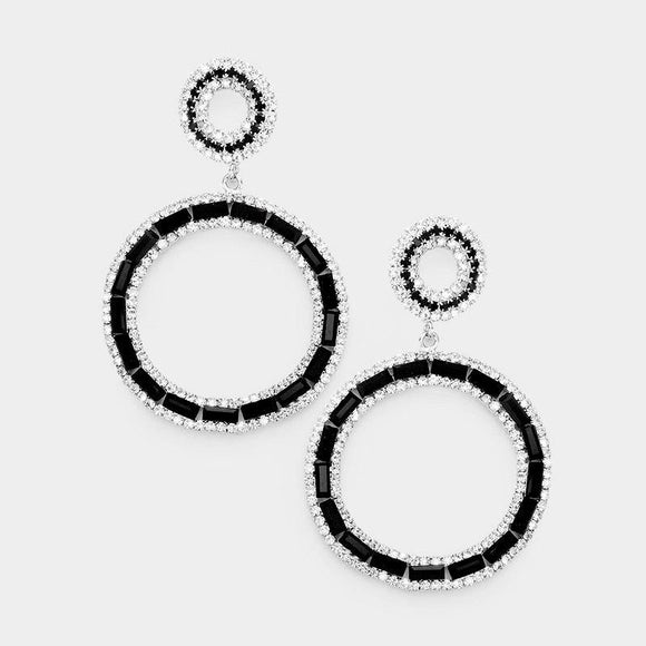 SILVER HOOP EARRINGS WITH CLEAR AND BLACK STONES POST ( 6743 SBKCL )