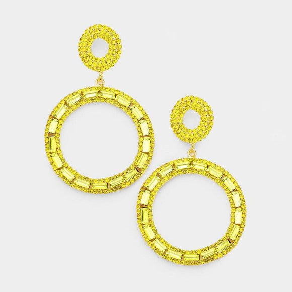 GOLD HOOP EARRINGS YELLOW STONES POST ( 6743 GYEL )