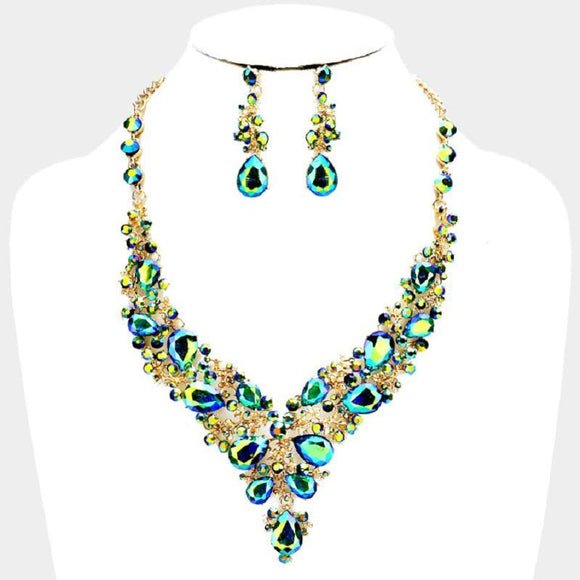 Green AB Rhinestone with Gold Formal Necklace Set ( 0041 2GX )
