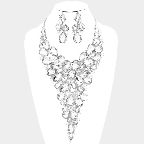 LARGE SILVER NECKLACE SET CLEAR STONES ( 014178 CL )