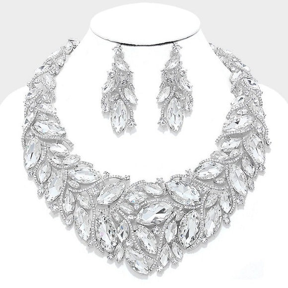 Silver Clear Marquise and Clear Stone Evening Necklace Set ( 014200 )