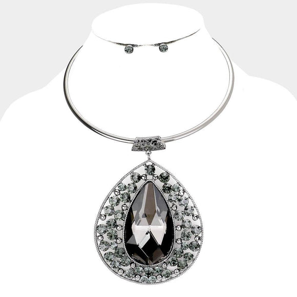 HEMATITE CHOKER WITH LARGE BLACK DIAMOND TEARDROP PENDANT ( 1005 )