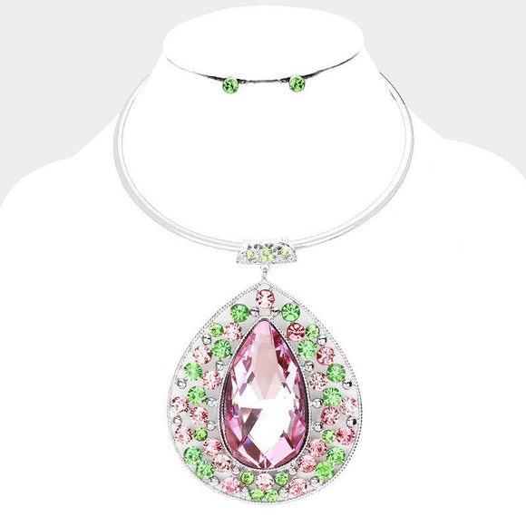 Silver Hardware & Pink and Green Large Teardrop Fashion Necklace Set ( 1005 )