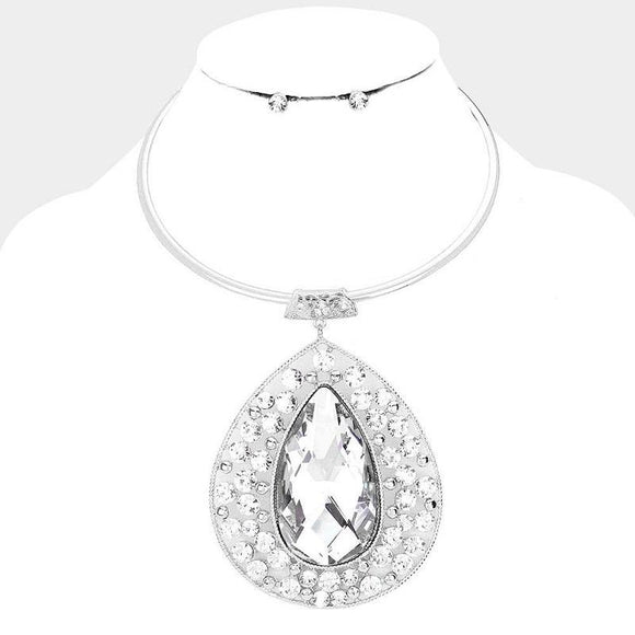 Silver Hardware & Clear Large Teardrop Fashion Necklace Set ( 1005 )