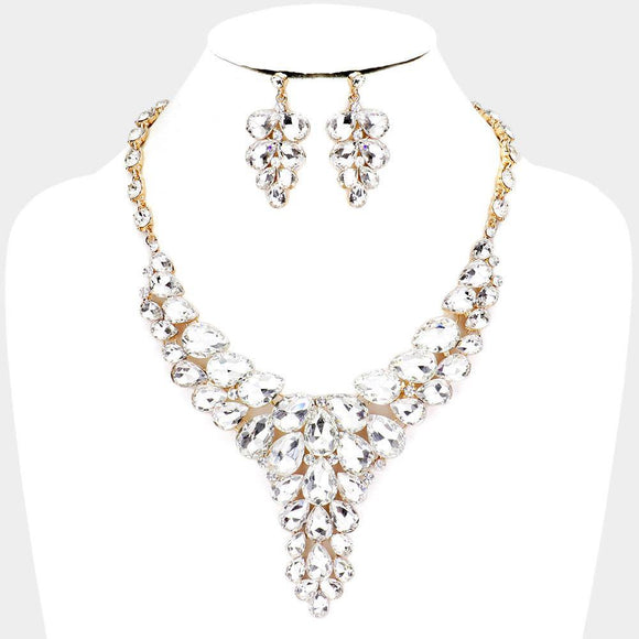 GOLD CLEAR TEARDROP NECKLACE SET WITH EARRINGS  ( 1021 )