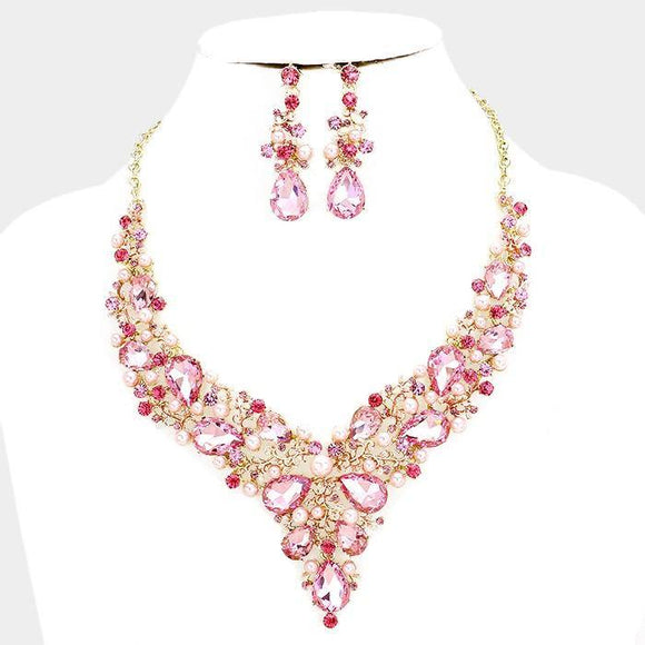 PINK Pearl and PINK Rhinestone on Gold Background Formal Necklace Set ( 17047 GPK ) - Ohmyjewelry.com