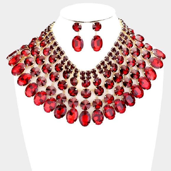Gold and Large Red Stone Bib Style Evening Necklace Set ( 2062 )