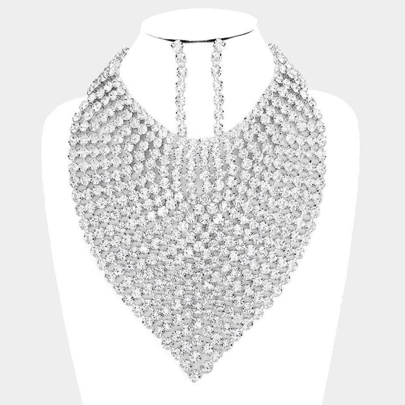 LARGE SILVER BIB CLEAR NECKLACE SET ( 3060 RHCRY )
