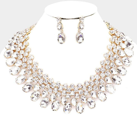 GOLD NECKLACE SET CLEAR STONES ( 3100 GDCRY )