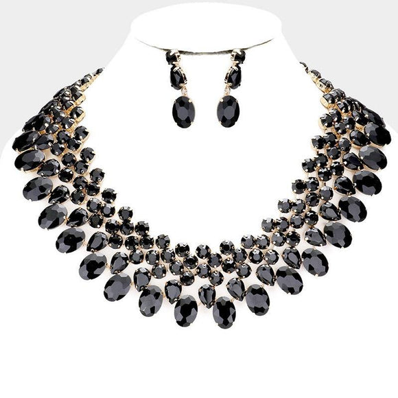GOLD NECKLACE SET BLACK STONES ( 3100 GDJET )