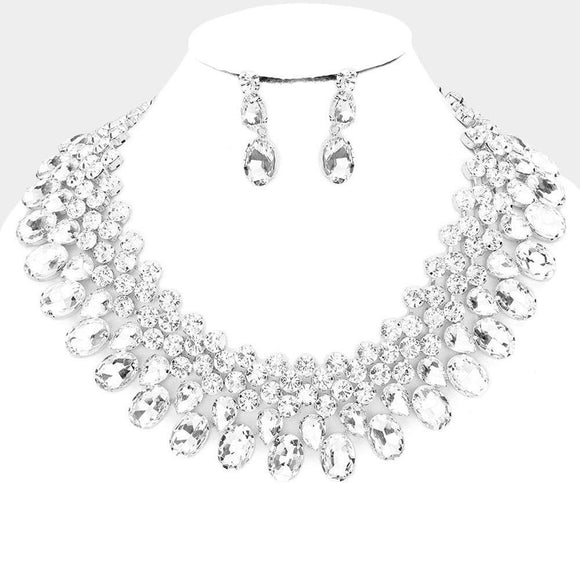 SILVER NECKLACE SET CLEAR STONES ( 3100 RHCRY )