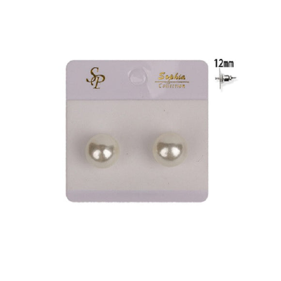 12mm Cream Round Pearl Glass Stud Earrings