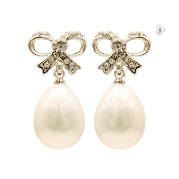 SILVER BOW EARRINGS WITH DANGLING PEARLS ( 1403 )