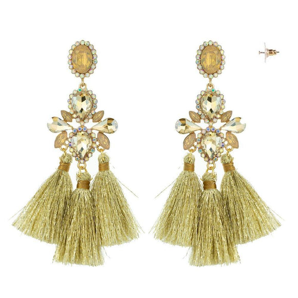 GOLD AMBER CHANDELIER TASSEL EARRINGS ( 10885 )