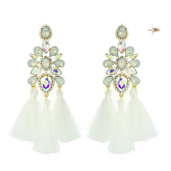 GOLD IVY WHITE CHANDELIER TASSEL EARRINGS ( 10885 )