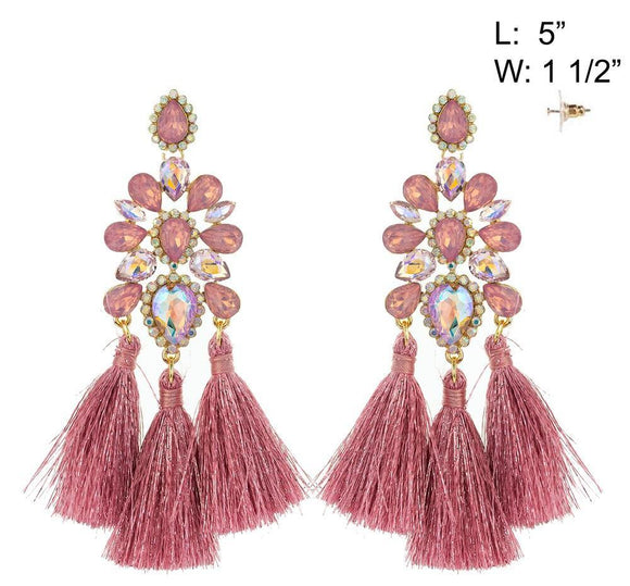 GOLD PINK CHANDELIER TASSEL EARRINGS ( 10886 )