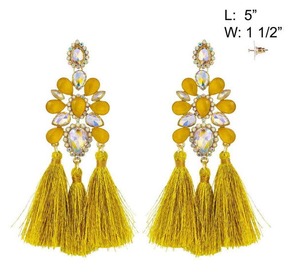 GOLD YELLOW CHANDELIER TASSEL EARRINGS ( 10886 )
