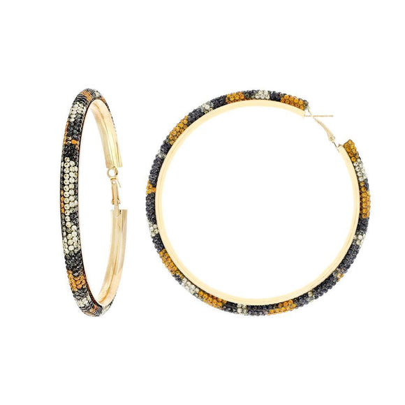 GOLD HOOP EARRINGS LEOPARD PRINT STONES ( 11369 LE ) - Ohmyjewelry.com