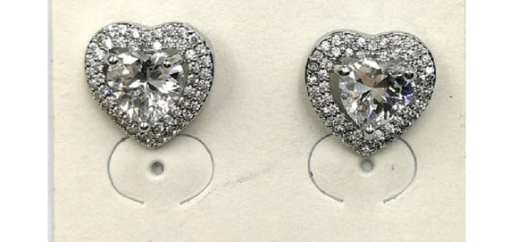 SILVER HEART CZ CUBIC ZIRCONIA STUD EARRINGS ( 0117 )