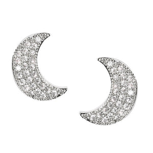 "1/2"" Silver CZ Cubic Zirconia Moon Stud Earrings ( 0279 )"