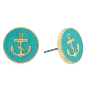 "1/2"" Turqoise Color and Gold Nautical Anchor Stud Earrings ( 2626 )"