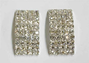 5 Line Silver Clear Bar Formal Stud Earrings ( 3609 )