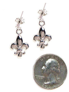 "1"" Silver Rhodium Plated Fleur De Lis Dangle Earrings ( 3980 ) - Ohmyjewelry.com"
