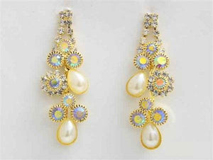 "1 3/4"" Cream Pearl and Gold AB Rhinestone Earrings"