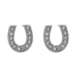 ".4"" Silver Clear Rhinestone Horse Shoes Stud Earrings ( 6611 )"