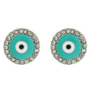 "1/2"" Silver Crystal and Turquoise Enamel Evil Eye Stud Earrings ( 6733 )"