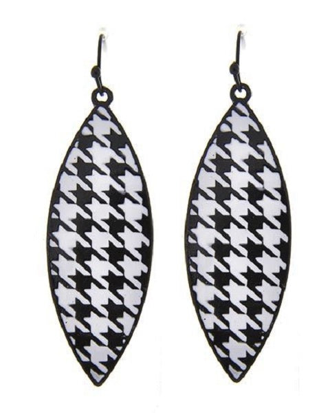 Black and White Marquise Drop Houndstooth Earrings