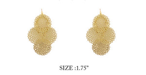 "2"" Gold Filigree Dangle Earrings ( 7077 )"