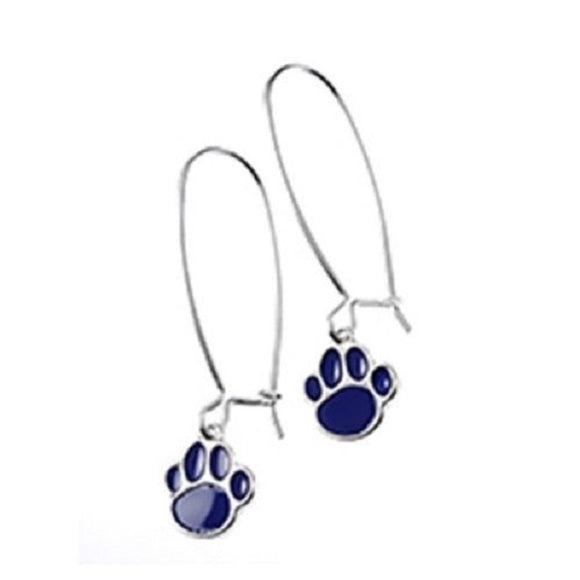 Silver Hoop Earrings with Enamel Blue Paw ( 8054 )