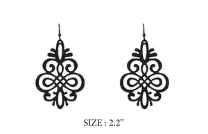 "2.2"" Black Dangle Earrings ( 8137 )"