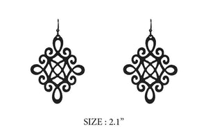 "2.1"" Black Dangle Earrings ( 8138 )"