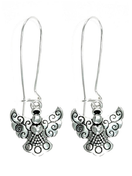 Kidney Hook Dangling Angel Silver Earrings