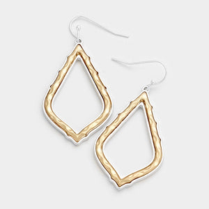 "2"" Hammered Gold with Silver Trim Dangling Earrings ( 8349 )"