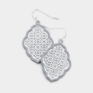 "1 3/4"" Matte Silver and Gray Ornate Filigree Style Dangle Earrings ( 8590 )"