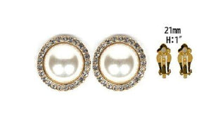 "1"" Cream Pearl Pave Clip On Earrings"