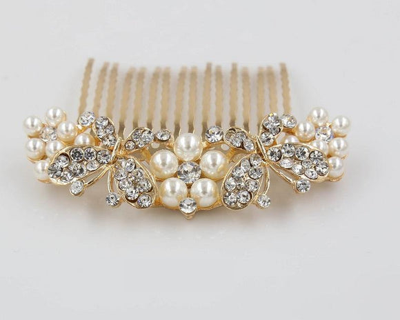 GOLD HAIR COMB PEARLS BUTTERFLY ( 2004 )