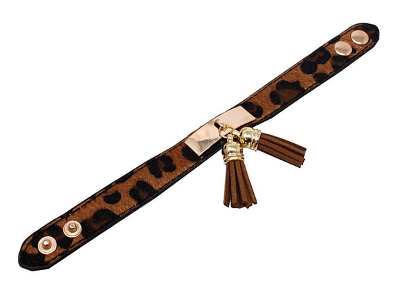 ANIMAL PRINT LEATHER BRACELET WITH DANGLING BROWN TASSEL ( 2723 )
