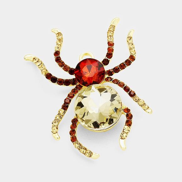 Large Brown Rhinestone Spider Brooch Pin in Gold Setting ( 1002 )