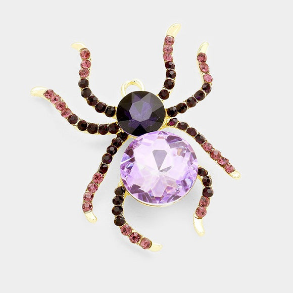 Large Purple Rhinestone Spider Brooch Pin ( 1002 )