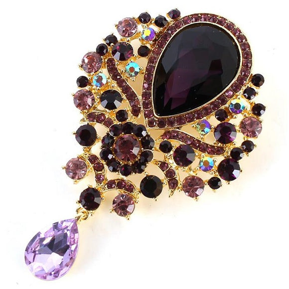 Gold Purple Teardrop Rhinestone Brooch ( 1013 )