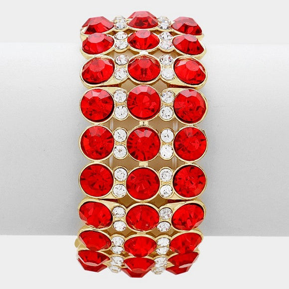 Red and Clear Rhinestone Stretch Bracelet with Gold Accents