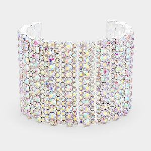 "1.75"" Silver AB Rhinestone Cuff with Adjustable Chain ( 1112 )"