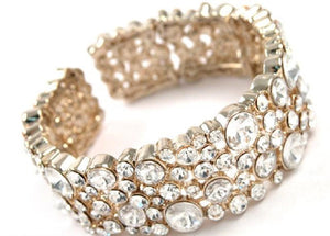 Clear Rhinestone Cuff Bracelet in Gold Setting ( 2240 )